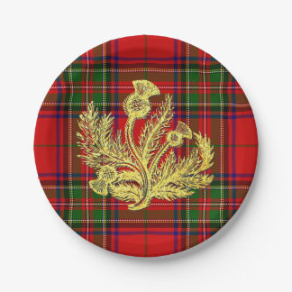 Gold Scottish Thistle on Plaid 7 Inch Paper Plate