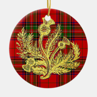 Gold Scottish Thistle on Plaid Round Ceramic Ornament