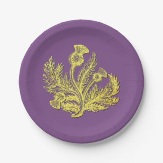 Gold Scottish Thistle Your Color Paper Plate