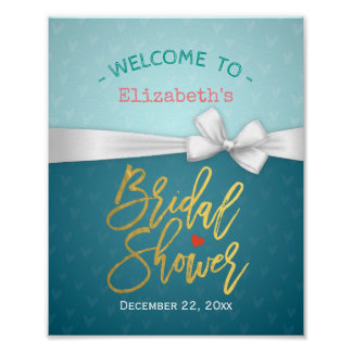 Gold Script Blue & White Ribbon Bridal Shower Sign Poster