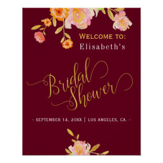 Gold script bridal shower fall floral welcome sign