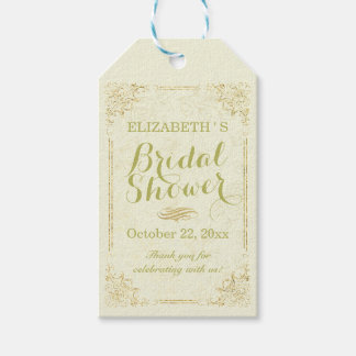 Gold Script Floral Frame Bridal Shower Thank You Gift Tags
