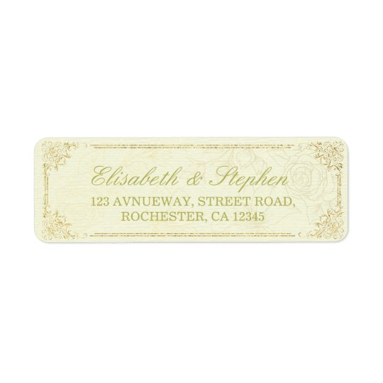 Gold Script Floral Frame Wedding Address Label
