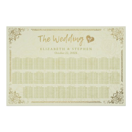 Gold Script Floral Frame Wedding Seating Chart Poster