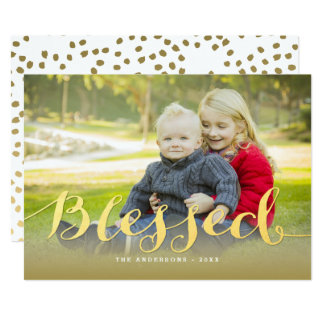 Gold Script Holiday Blessings Holiday Photo Card