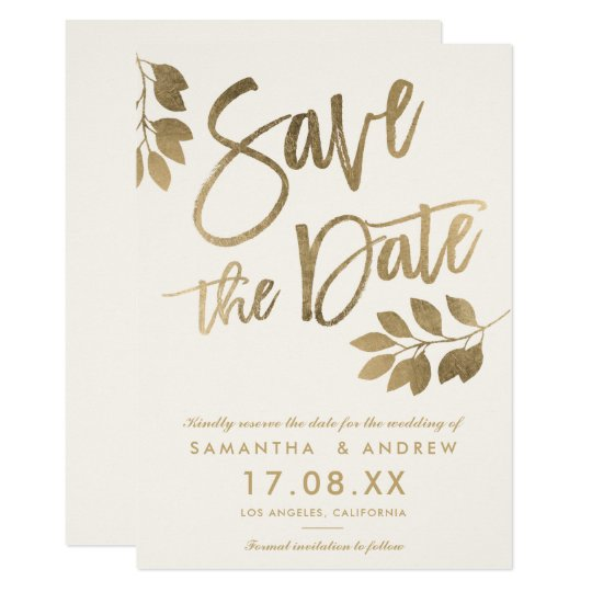 Gold script leaf wedding save the date card