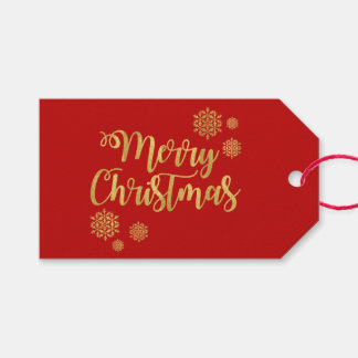 Gold Script Merry Christmas Red Holly Berry Holida Gift Tags