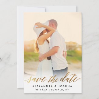 Gold Script Photo Save the Date in Faux Foil