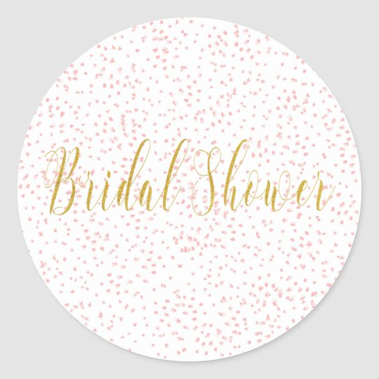 gold script pink dots classic round sticker