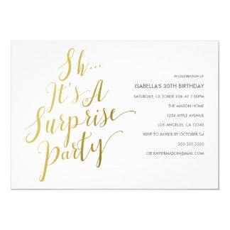 Gold Script Surprise Party Invitation