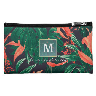 Gold Script & Tropical Floral Makeup Beauty Salon Cosmetic Bags