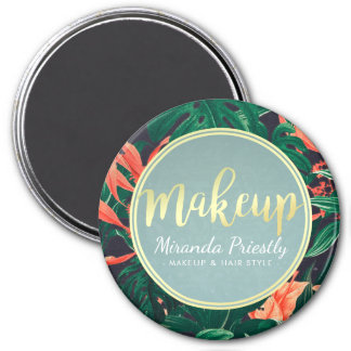 Gold Script & Tropical Floral Makeup Beauty Salon Magnet