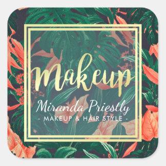 Gold Script & Tropical Floral Makeup Beauty Salon Square Sticker