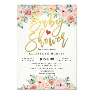 Gold Script U0026 Watercolor Floral Baby Shower Invite