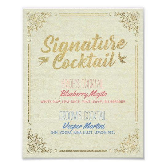 Gold Script Wedding Signature Cocktail Drink Menu Poster
