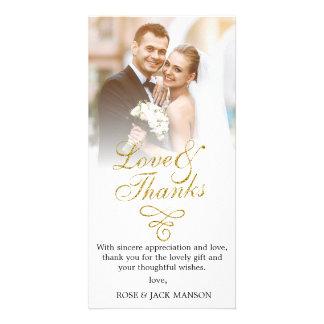 gold script wedding thank you card
