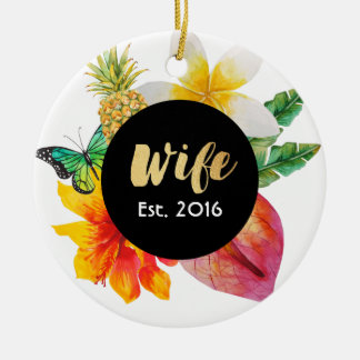 Gold Script Wife Tropical Floral Round Ceramic Ornament