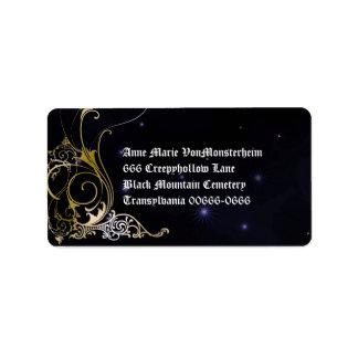 Gold Scroll Formal Goth Wedding Label