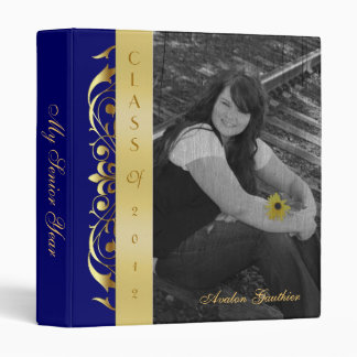 Gold Scroll Photo Blue Graduation Album Binder