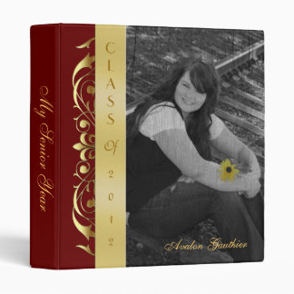 Gold Scroll Photo Red Graduation Album Binder