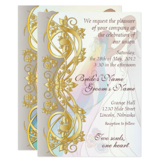 Gold Scroll Rainbow Bride & Groom Wed. Invite 1B