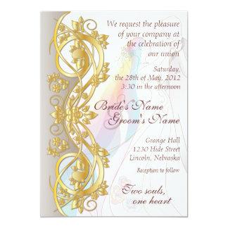 "Gold Scroll Rainbow Bride & Groom Wedding Invite-1 5"" X 7"" Invitation Card"