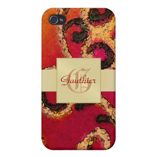 Gold Scroll Valentines 4gs  iPhone 4 Cases