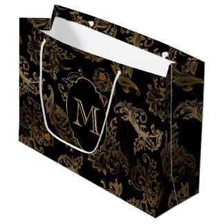 Gold Scrolls Faux Black Marble Monogram Large Gift Bag