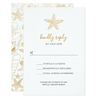 Gold Sea Shell wedding rsvp for buffet Card
