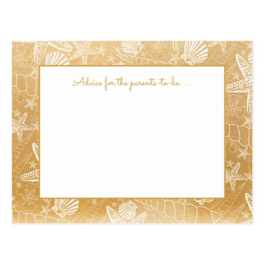 Gold Sea Shells Baby shower Advice, prayers 3988 Postcard