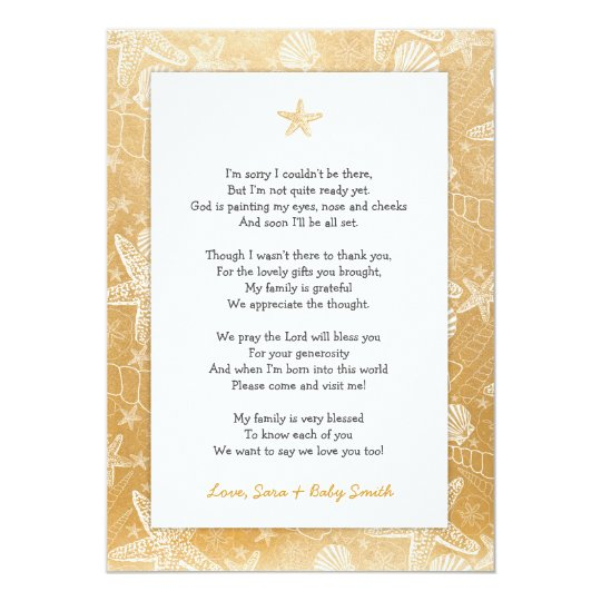 Gold Sea Shells baby shower thank you note poem Card