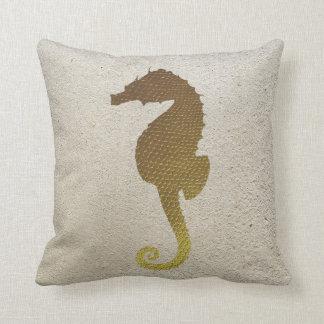 Gold Seahorse and White Sand Throw Pillow