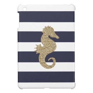Gold Seahorse Navy & White Stripes iPad Mini Case