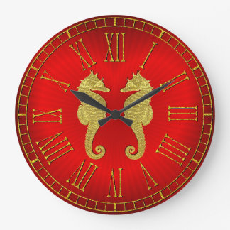 Gold Seahorses and Heart Wallclock