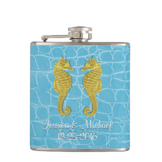 Gold Seahorses Blue Alligator Personalize Hip Flask