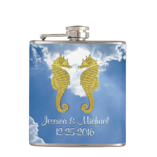 Gold Seahorses Sky Personalize Hip Flask