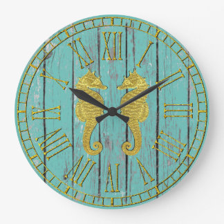 Gold Seahorses Your Color Weathered Wood Large Clock