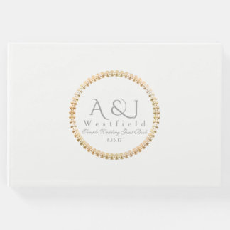 Gold Seal Monogram Temple Wedding Guest Book