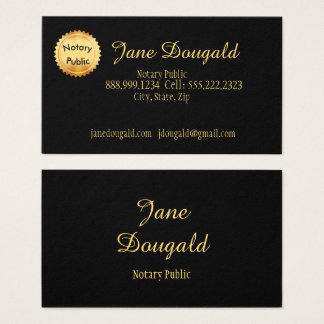 Gold Seal with Black Classic Notary Business Card