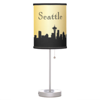 Gold Seattle Skyline Silhouette Lamp