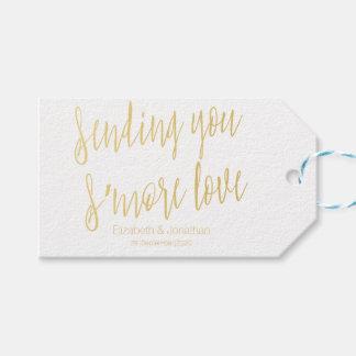 "Gold ""Sending you s'more love"" Wedding Favor Tag"