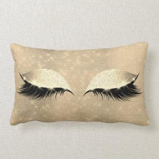 Gold Sepia Faux  Lashes Glass Sleep Glitter Makeup Lumbar Pillow