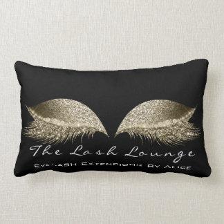 Gold Sepia SparkGlitter Black Makeup Lashes Beauty Lumbar Pillow