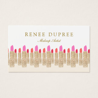 Gold Sequin Lipstick Makeup Artist Beauty Salon 5 Business Card