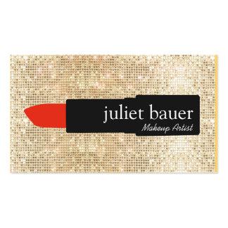 Gold Sequin Makeup Artist Lipstick Logo Beauty Business Card