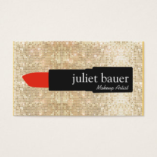 Gold Sequin Makeup Artist Lipstick Logo Beauty Business Card
