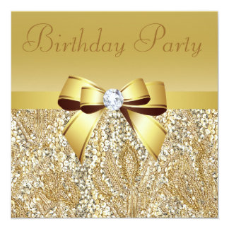 """Gold Sequins, Bow & Diamond Birthday Party 5.25"""" Square Invitation Card"""