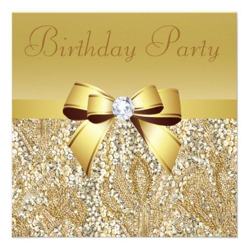 Gold Sequins, Bow & Diamond Birthday Party Custom Invitation