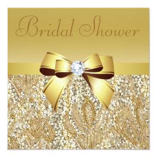 "Gold Sequins, Bow & Diamond Bridal Shower 5.25"" Square Invitation Card"