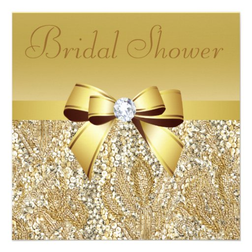 Gold Sequins, Bow & Diamond Bridal Shower Custom Announcements
